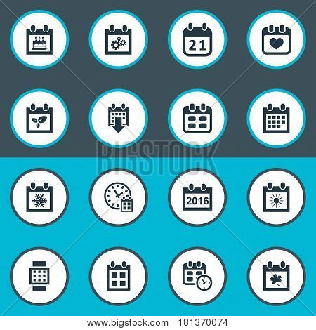 Vector Illustration Set Of Simple Date Icons. Elements Event, Agenda, 2016 Calendar And Other Synonyms Day, Summer And Calendar.