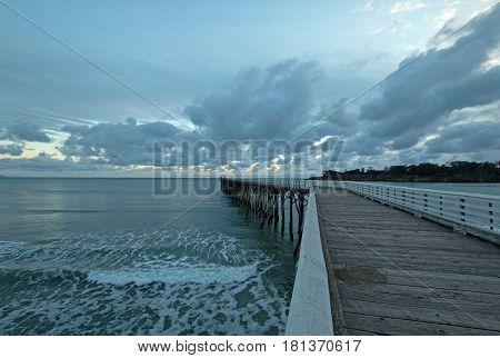 San Simeon Public Pier at sunset on the Central Coast of California United States