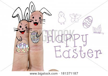 Illustration of fingers representing Easter bunny against happy easter logo