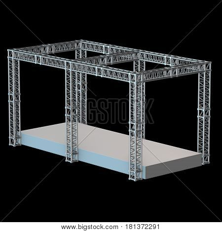 Steel truss girder rooftop construction with outdoor festival stage. 3d render podium on black.