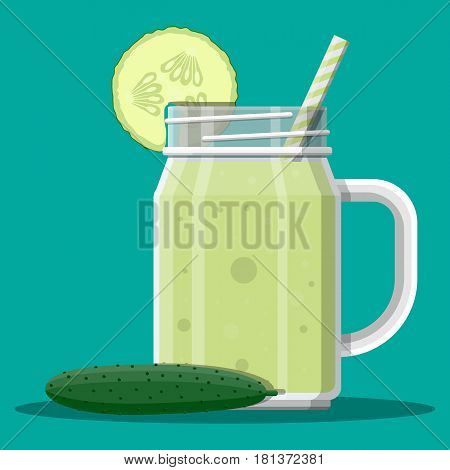 Jar with cucumber smoothie with striped straw. Glass for cocktails with handle. Cucumber fresh vegetable. Vector illustration in flat style