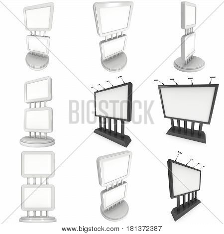 LCD Screen Double Stand Set. Blank Trade Show Booth. 3d render of lcd screen isolated on white background. High Resolution. Ad template for your expo design.