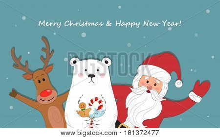Merry Christmas and Happy New Year. Cute card with a picture of Santa Claus, reindeer and polar bears. Vector illustration.