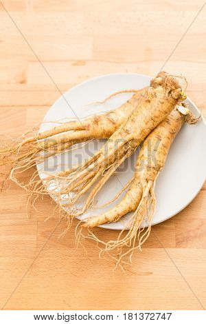 Fresh Korean Ginseng on plate