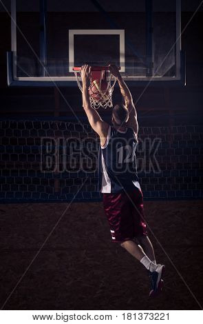 Basketball Player Slam Dunk, In Air
