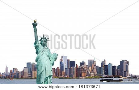 Statue Of Liberty, Skyline Of New York City Isolated On White Background, Usa.
