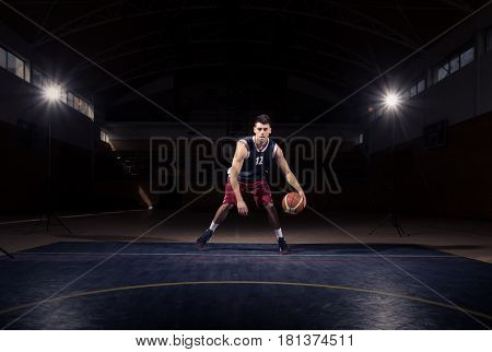 One Basketball Player Dribble Ball