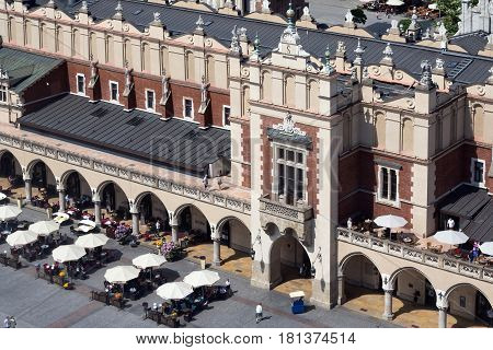 KRAKOW, POLAND - MAY 29, 2016: Famous Cloth Hall called Sukiennice at the Main Market Square in historical center of Krakow.