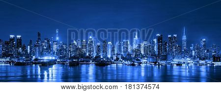 Skyline Of New York City At Night, Skyscrapers, Downtown, Usa