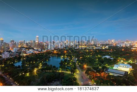 Lumpini Park In Downtown At Night, Bangkok, Thailand