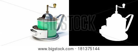 3D rendering of Green vintage coffee grinder with coffee beans isolated on white background with alpha channel section for easy split unwanted background.