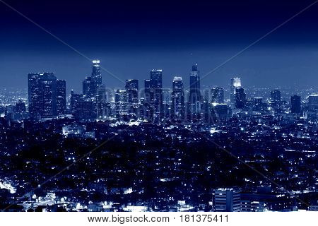 City of Los Angeles at night, California USA