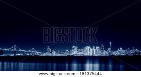 San Francisco Skyline at night, Californa USA