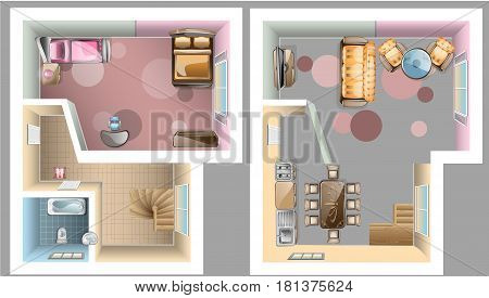 First and second floor interior top view. Vector illustration