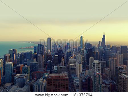 Chicago City at sunset, skyscrapers in illinois USA