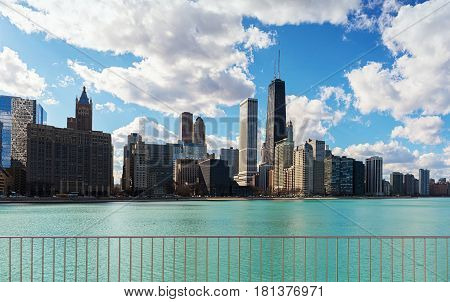 Chicago City with clear lake Skyline Illinois USA