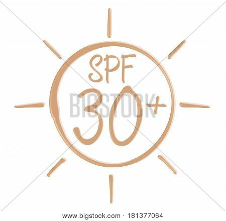 Drawing SPF 30 icon from sunscreen lotion on isolated background.