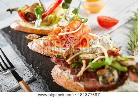 Restaurant Food - Delicious Various Bruschetta. Gourmet Italian Restaurant Menu