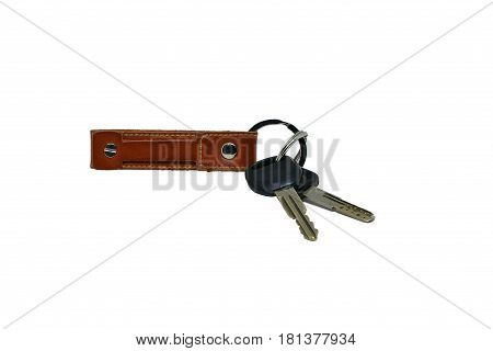 Car Key Chain Isolated On White Background