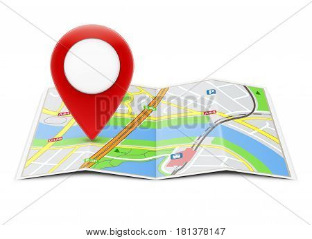 Vector illustration of global navigation concept with city map and glossy location pointer icon on it