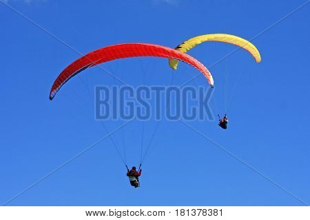 Paragliders flying their wings in a blue sky