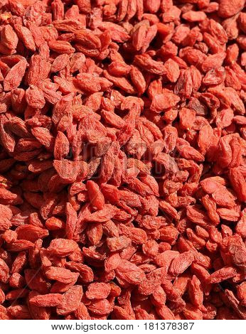background of red Dried goji berries for sale