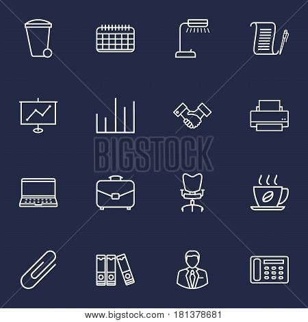 Set Of 16 Work Outline Icons Set.Collection Of Recycle Bin, Workplace, Document Case And Other Elements.