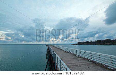 San Simeon Public Pier at sunset on the Central Coast of California US