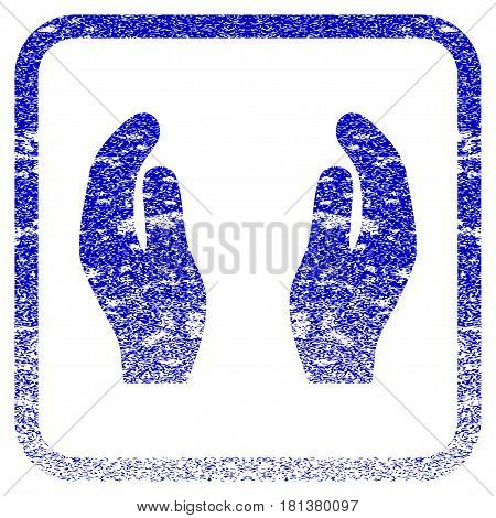 Applause Hands textured icon for overlay watermark stamps. Blue vectorized texture. Flat vector symbol with dust design inside rounded square frame. Framed blue rubber seal stamp imitation.