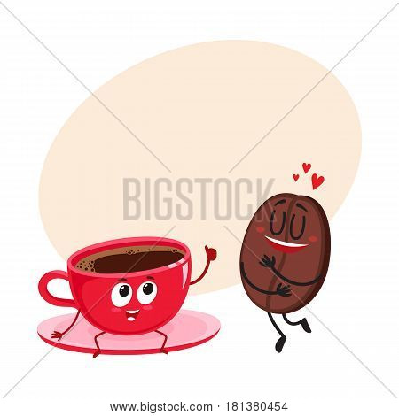 Funny characters of coffee bean showing love and espresso cup giving thumb up, cartoon vector illustration with space for text. Coffee bean and espresso cup characters, mascots, coffee love