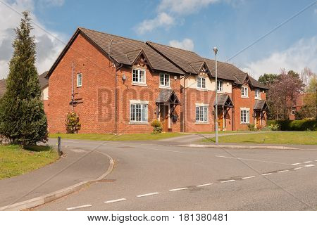 Typical mix of detached and semi detached modern residential housing development in the United Kingdom