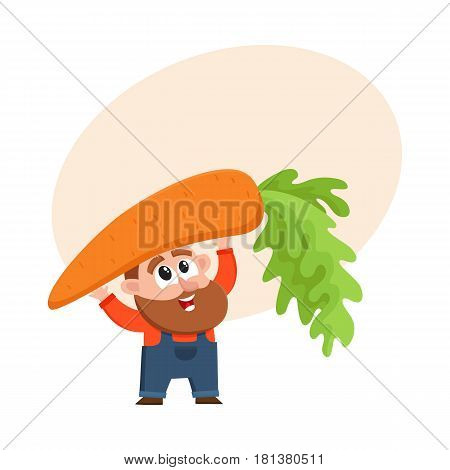 Funny farmer, gardener character in overalls holding huge, giant carrot over head , cartoon vector illustration with space for text. Comic farmer character with giant carrot, design elements