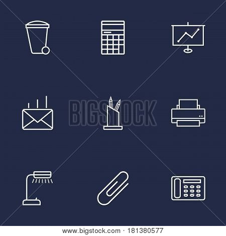 Set Of 9 Bureau Outline Icons Set.Collection Of Fastener Paper, Pen Storage, Show And Other Elements.
