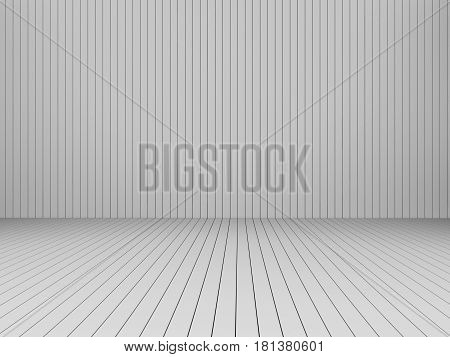 3D Rendering modern white slats wall and floor interior illustration mock up