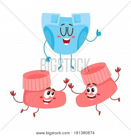 Funny baby booties and diaper, nappy characters, child care concept, cartoon vector illustration isolated on white background. Baby booties and diaper, nappy character, mascot, infant necessities