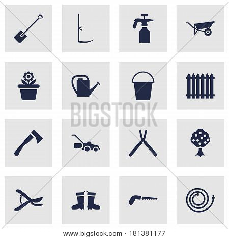 Set Of 16 Household Icons Set.Collection Of Spray Bootle, Bucket, Pruner And Other Elements.