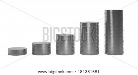Silver Coins in columns in ascending order isolated on white background