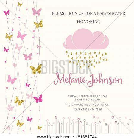Lovely Baby Shower Card Template With Golden Glittering Details