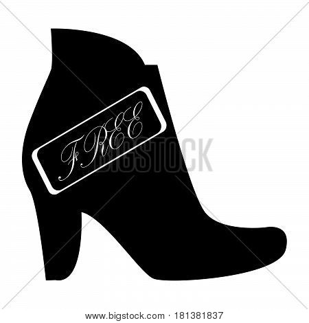 Flat Black Free Shoes Sign Icon