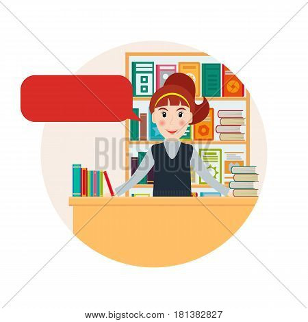 Female bookseller with speech bubble against shelves with books. Woman selling books at the bookstore or librarian at the library. EPS10 vector illustration in flat style.