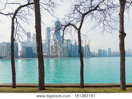 Lake Michigan with blue water in Chicago illinois USA