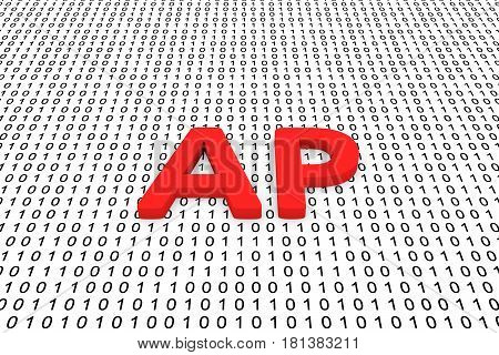 AP in the form of binary code, 3D illustration