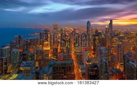 Chicago City Chicago illinois at sunset, USA