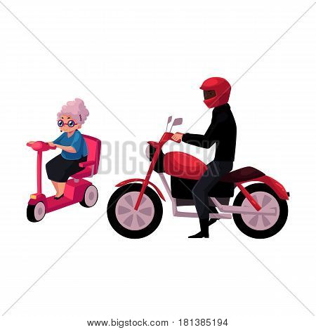 Young man riding motorcycle and old woman driving modern scooter, personal urban transport concept, cartoon vector illustration isolated on white background. Motorcycle and scooter riders, drivers