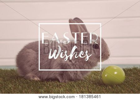 Easter greeting against green easter egg and easter bunny sitting on grass