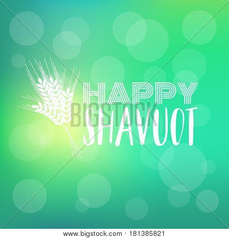 Happy shavuot headline with barley on bokeh background banner