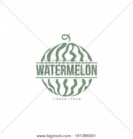monochrome logo template with side view of stylized striped watermelon, vector illustration isolated on white background. Watermelon logotype, logo design with graphic, stylized whole watermelon