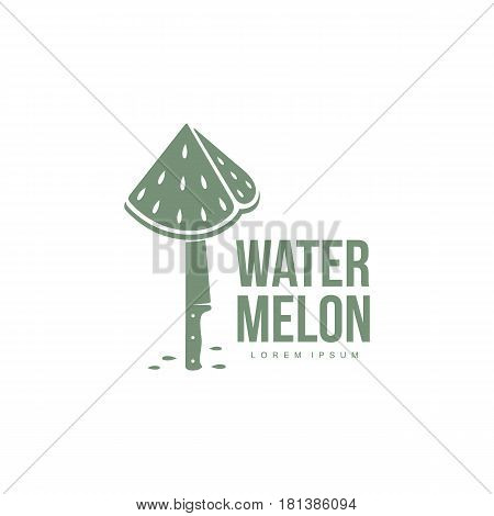 monochrome logo template with stylized triangular watermelon piece stuck on standing knife, vector illustration isolated on white background. Watermelon logotype, logo design with watermelon piece