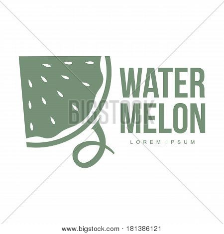 monochrome logo template with side view of stylized triangular watermelon slice, vector illustration isolated on white background. Watermelon logotype, logo design with watermelon slice
