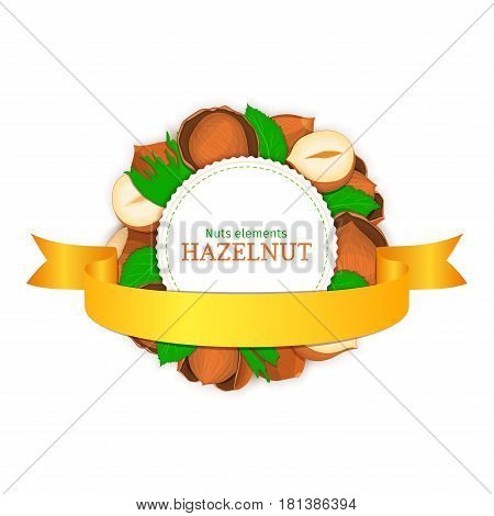 Round white frame composed of hazel nut and gold ribbon. Vector card illustration of filbert nut. Circle nuts frame, walnut fruit in the shell, whole, shelled, leaves for packaging design food.